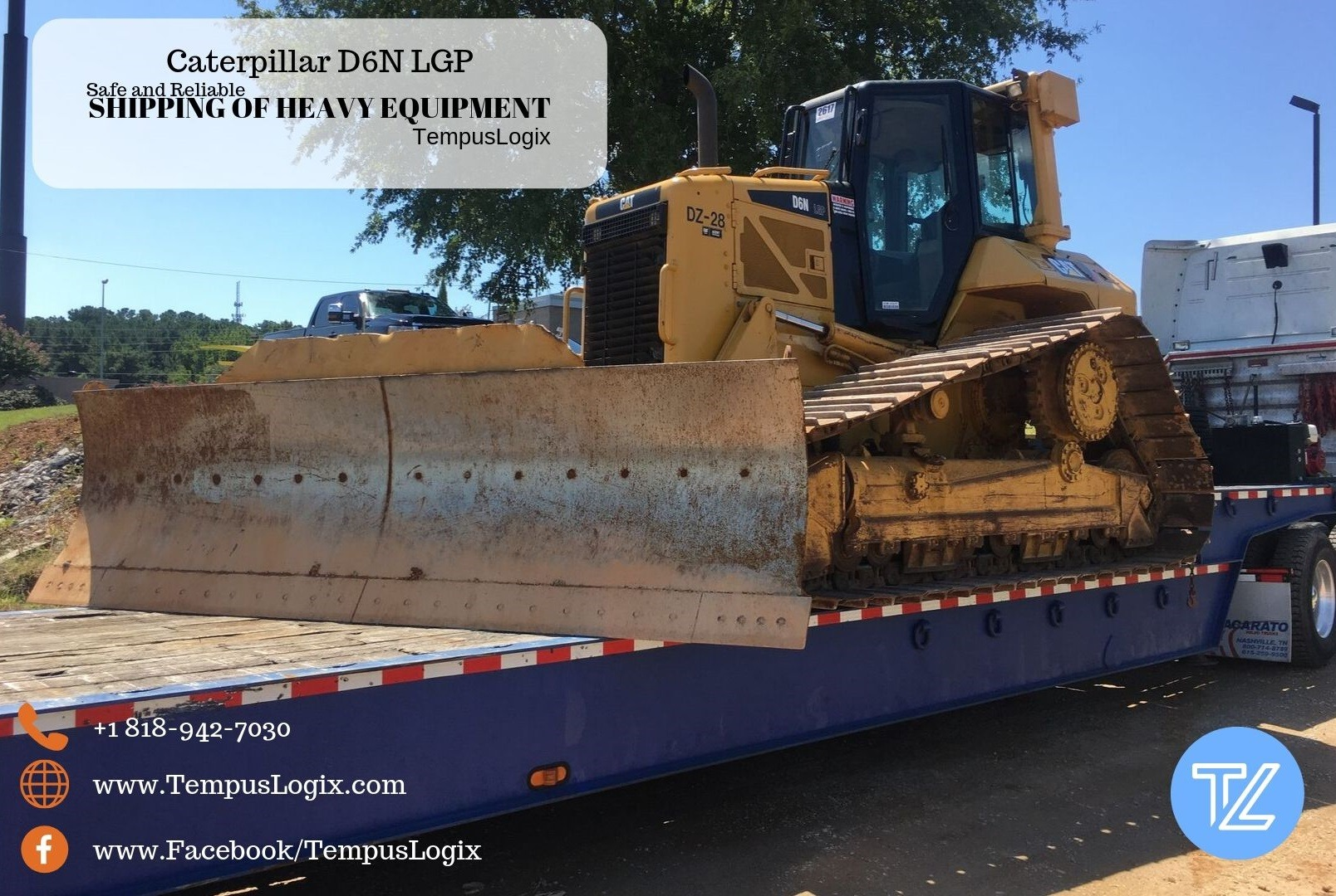 Caterpillar D6N LGP Oversized load